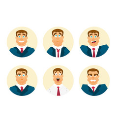 funny cartoon character set of businessman vector image