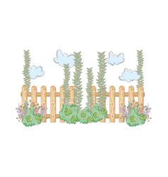 Garden bush with fence vector