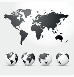 globes and map of world vector image