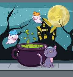 halloween cat and ghosts vector image