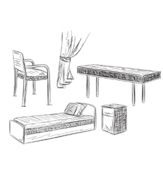 Hand drawn furniture for schoolboy or student vector