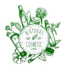 Hand Drawn Natural Cosmetics Label vector image