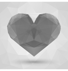 Heart made of transparent triangles on a light vector