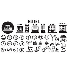 hotel bed room travel vacation service flat vector image