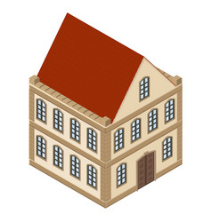 house 2-floor residential building with red roof vector image