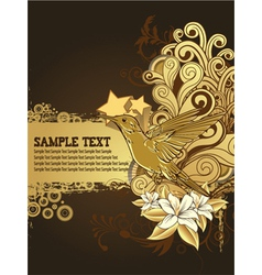hummingbird with floral background vector image
