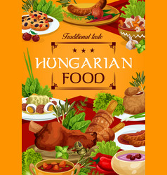 Hungary cuisine hungarian food poster vector