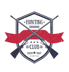 Hunting club vintage logo with two old rifles vector