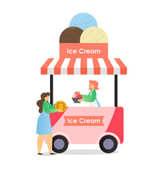 ice cream truck business flat vector image