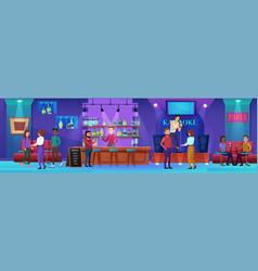 karaoke nightlife bar cartoon vector image
