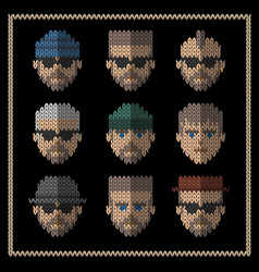 knitted flat icons set of men hipster style vector image