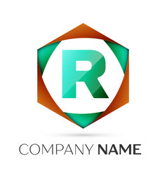 Letter r symbol in the colorful hexagonal vector
