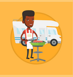 man having barbecue in front of camper van vector image