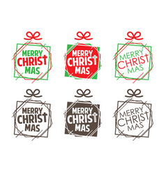 Merry christmas text designed with gift box vector