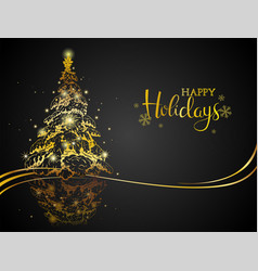 modern gold on black christmas greeting card vector image