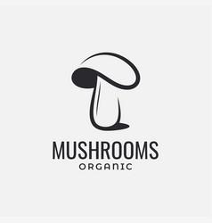 mushroom organic food logo on white background vector image