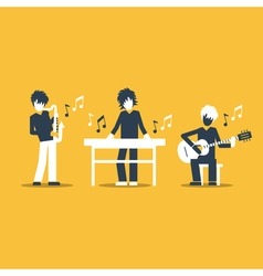 Music band playing live concert saxophone keyboard vector image