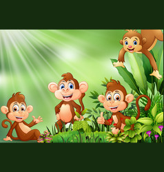 Nature scene with group of monkey cartoon vector