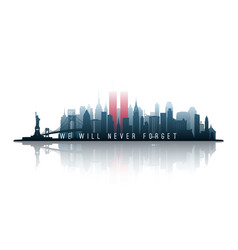 new york skyline silhouette with twin towers vector image