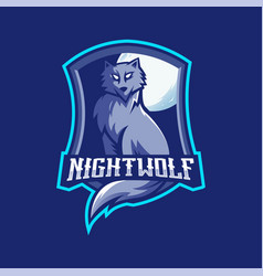 Night wolf mascot logo design with modern vector