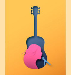 papercut woman singer in guitar music instrument vector image