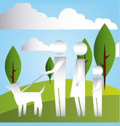 parents and son with dog in the park family vector image