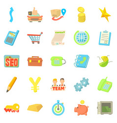 Payment by card icons set cartoon style vector