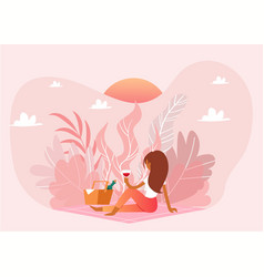 picnic outdoor in nature pink landscape romantic vector image