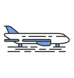 Plane on ground color icon vector