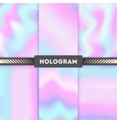 Rainbow colored hologram background set vector