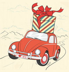 Red vintage car with a gift on the roof vector