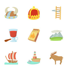 scandinavia life icons set cartoon style vector image