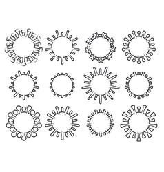 set biological virus icons coronavirus covid vector image