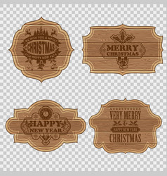 set christmas wooden frames vector image