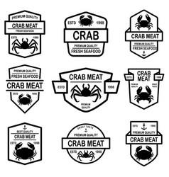 set crab meat emblems design element for logo vector image