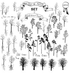 set different trees vector image