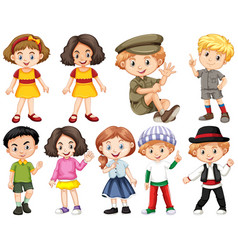 set happy children doing different actions vector image