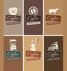 Set of business cards on the theme of coffee house vector