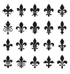 set of emblems fleur de lys symbols vector image