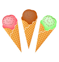 set of ice creams with chocolate glaze vector image