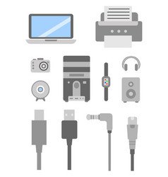 Set of pc flat icons cable wire computer vector