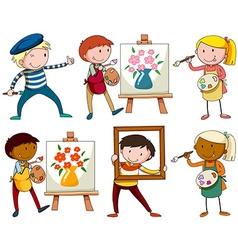 Set of people doing artworks vector