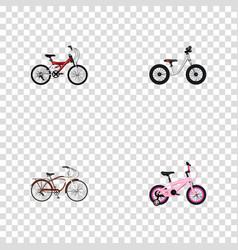 set of realistic symbols with cruise bicycle kid vector image