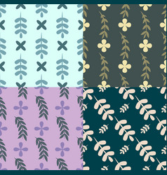 set of seamless pattern with floral elements vector image