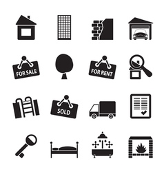 Silhouette Real Estate icons vector