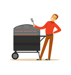 smiling man preparing sausages and steaks on a vector image