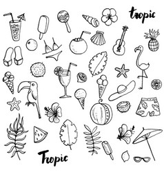 Summer tropical beach doodle set vector