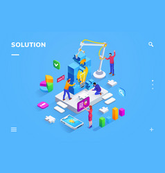 teamwork people at finding business solution vector image