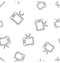 Tv icon in line style seamless pattern background vector