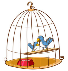 Two blue birds in cage vector
